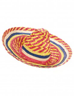Sombrero Mexiko-Strohhut gelb-rot-blau