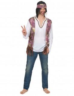 Hippie Herren-Kostüm weiss-bunt