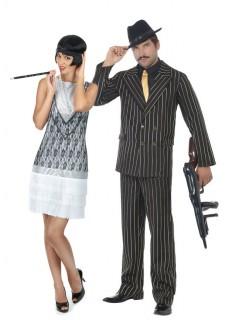 Gangster Pärchen Gruppenkostüm-Set schwarz-weiss-lila