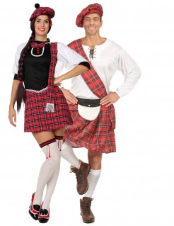 Schotten Gruppenkostüm-Set für Paare weiss-schwarz-rot