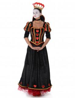 Herzkönigin Damenkostüm Märchen schwarz-rot-gold