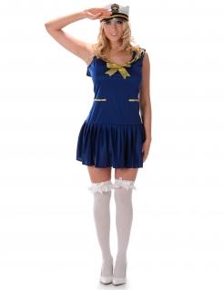 Verführerisches Marine Kostüm für Damen blau-gold