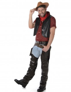 Cooles Cowboy Herrenkostüm rot-schwarz