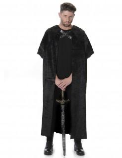 Mittelalter-Krieger Fell-Umhang schwarz