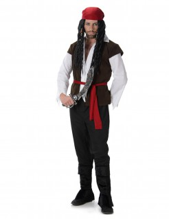 Tapferer Pirat Seeräuber-Herrenkostüm schwarz-weiss-rot
