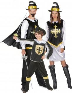 Tapfere Musketiere Gruppenkostüm-Set für Familien schwarz-weiss-gold