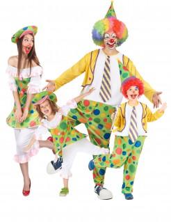 Fröhliche Clown-Familie Gruppenkostüm-Set bunt