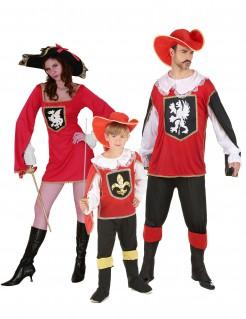 Musketier Gruppenkostüm-Set für Familien rot-schwarz-weiss