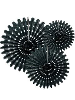 Papierfächer-Set 3-teilig schwarz