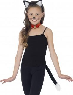 Süßes Katzen Kostüm-Set für Kinder 3-teilig schwarz-weiss-rot