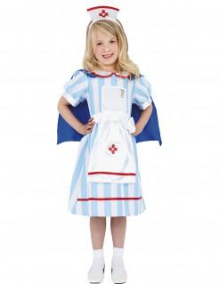 Krankenschwester Kinder-Kostüm türkis-weiss-rot-blau