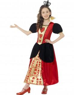 Herzkönigin Mädchen Kostüm schwarz-gold-rot