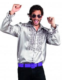 70er-Jahre-Disco-Hemd für Herren silber