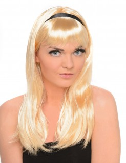 Langhaar Damenperücke mit Pony glatt mit schwarzem Haarband blond