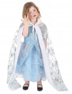 Umhang mit Schneeflocken und Fell für Kinder weiss-silber