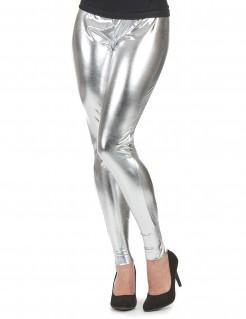 Glanz Leggings Strumpfhosen silber