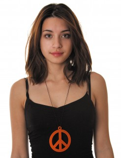 Hippie Peace Kette orange