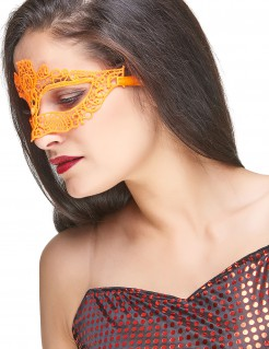 Venezianische Augenmaske Spitze Damen orange