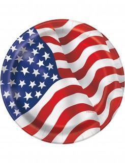 Pappteller USA Design 8 Stück groß