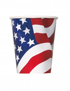 Pappbecher USA Design 8 Stück 270ml