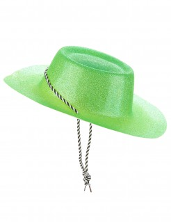 Western Glitzer Cowboyhut mit Kordel für Erwachsene grün