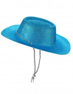 Western Glitzer Cowboyhut mit Kordel für Erwachsene blau