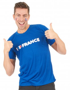 I Love France Fan T-Shirt für Erwachsene blau