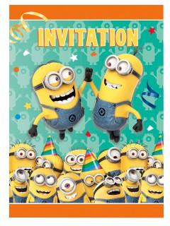 Lizenzartikel Geburtstags Einladungskarten Minions 8 Stück bunt