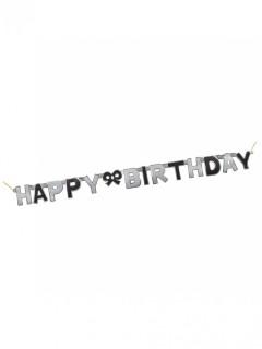 Geburtstagsgirlande Happy Birthday schwarz-silber 1,27m