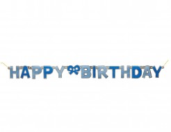Geburtstagsgirlande Happy Birthday blau 1,27m