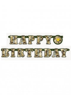 Geburtstagsgirlande Happy Birthday Tarnfarben 1,6m