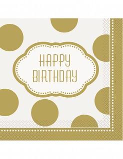 Geburtstags Servietten Schriftzug Happy Birthday 16 Stück weiss-gold