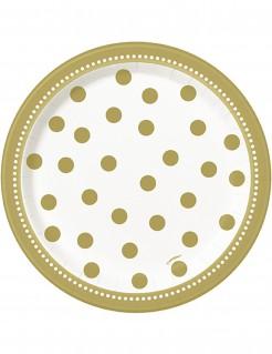 Party Pappteller mit Punkten 8 Stück weiss-gold Durchmesser 17cm