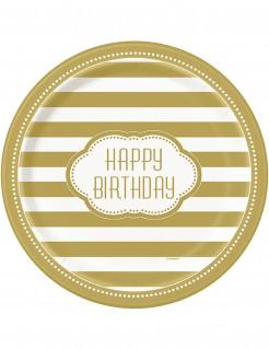Geburtstags Pappteller Schriftzug Happy Birthday 8 Stück weiss-gold Durchmesser 22cm
