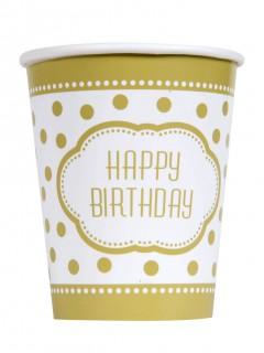 Geburtstags Pappbecher Happy Birthday 8 Stück weiss-gold 270ml