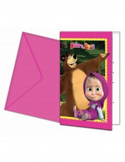 Lizenzartikel Einladungskarten Mascha und der Bär inklusive Umschlag 6 Stück bunt