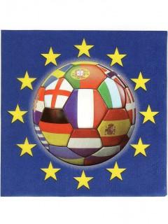 Fußball Servietten mit verschiedenen Nationen 20 Stück bunt