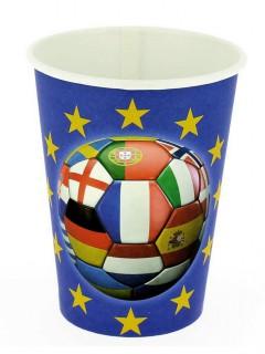 Fußball Pappbecher mit verschiedenen Nationen 6 Stück bunt