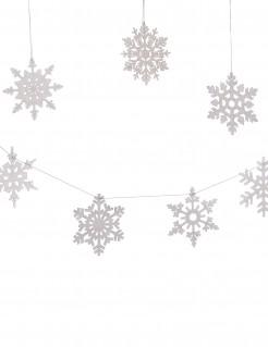 Schneeflocken Dekogirlande Weihnachten silber