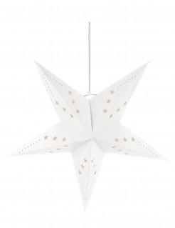Laterne Stern mit sternförmigen Löchern weiss