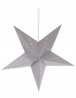 Laterne Stern mit sternförmigen Löchern grau
