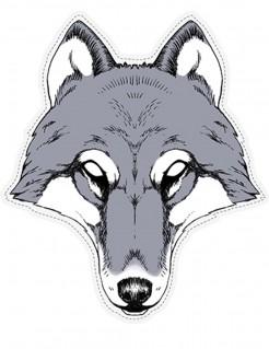 Pappmaske Wolf