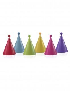 Party Geburtstagshüte mit Bommel 6 Stück bunt