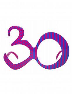 Fun Geburtstagsbrille Zahl 30 blau-pink