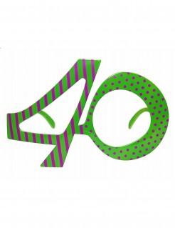 Fun Geburtstagsbrille Zahl 40 pink-grün