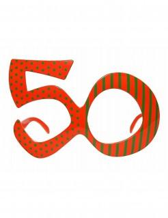 Fun Geburtstagsbrille Zahl 50 rot-grün