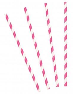 Party-Strohhalme Trinkhalm-Set 10 Stück pink-weiss 19,5cm