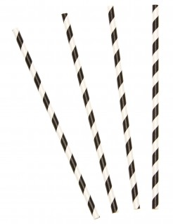 Strohhalme gestreift 10 Stück schwarz-weiß