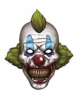 Horrorclown Pappmaske Halloween weiss-bunt