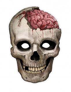 Totenschädel Pappmaske Halloween grau-rosa